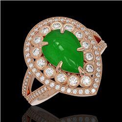 4.12 ctw Jade & Diamond Victorian Ring 14K Rose Gold - REF-134M4G