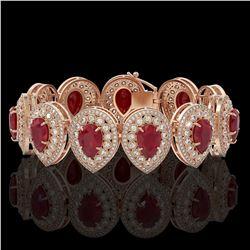 56.04 ctw Certified Ruby & Diamond Victorian Bracelet 14K Rose Gold - REF-1520F8M