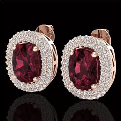 5.20 ctw Garnet & Micro Pave VS/SI Diamond Earrings 10k Rose Gold - REF-107A3N