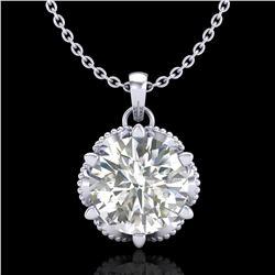 1.36 ctw VS/SI Diamond Solitaire Art Deco Necklace 18k White Gold - REF-361G8W