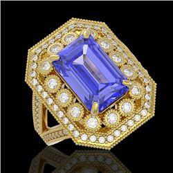 5.86 ctw Certified Tanzanite & Diamond Victorian Ring 14K Yellow Gold - REF-345H5R