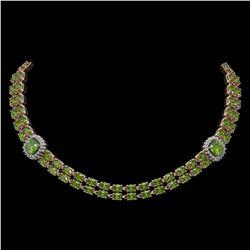 38.37 ctw Tourmaline & Diamond Necklace 14K Rose Gold - REF-527K3Y