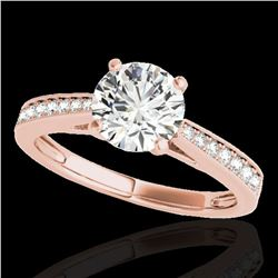 1.25 ctw Certified Diamond Solitaire Ring 10k Rose Gold - REF-188H2R
