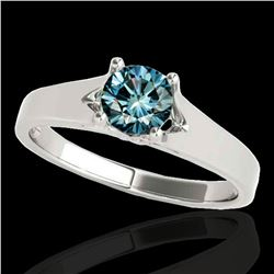 1 ctw SI Certified Fancy Blue Diamond Solitaire Ring 10k White Gold - REF-120A2N
