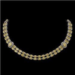 31.4 ctw Citrine & Diamond Necklace 14K White Gold - REF-454F5M