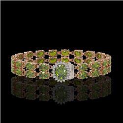 16.97 ctw Tourmaline & Diamond Bracelet 14K Rose Gold - REF-263N6F