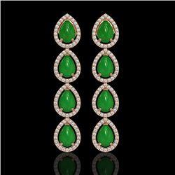 6.20 ctw Jade & Diamond Micro Pave Halo Earrings 10k Rose Gold - REF-158M2G