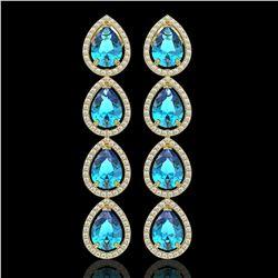 10.8 ctw Swiss Topaz & Diamond Micro Pave Halo Earrings 10k Yellow Gold - REF-172K8Y
