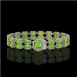 26.52 ctw Peridot & Diamond Bracelet 14K White Gold - REF-244X8A