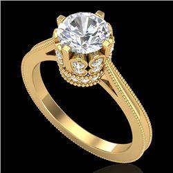 1.5 ctw VS/SI Diamond Art Deco Ring 18k Yellow Gold - REF-399R3K