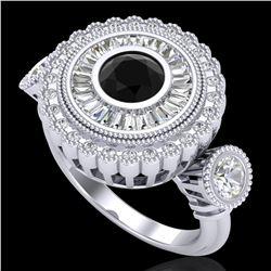 2.62 ctw Fancy Black Diamond Art Deco 3 Stone Ring 18k White Gold - REF-254N5F