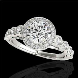 1.50 ctw Certified Diamond Solitaire Halo Ring 10k White Gold - REF-204X5A
