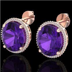 20 ctw Amethyst & Micro VS/SI Diamond Pave Earrings 14k Rose Gold - REF-109F3M