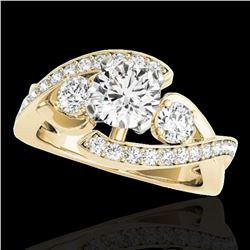 2.01 ctw Certified Diamond Bypass Solitaire Ring 10k Yellow Gold - REF-300K2Y