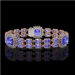 19.6 ctw Tanzanite & Diamond Bracelet 14K Rose Gold - REF-323A8N