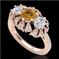 2.26 ctw Intense Fancy Yellow Diamond Art Deco Ring 18k Rose Gold - REF-345N5F