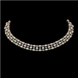 34.85 ctw Opal & Diamond Necklace 10K Rose Gold - REF-618R2K