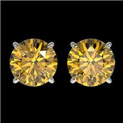 2 ctw Certified Intense Yellow Diamond Stud Earrings 10k White Gold - REF-294M5G