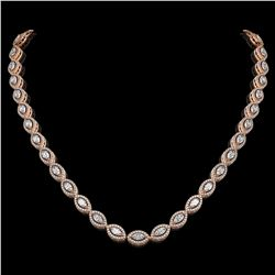 15.74 ctw Marquise Cut Diamond Micro Pave Necklace 18K Rose Gold - REF-1363G3W