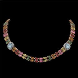 43.35 ctw Sapphire & Diamond Necklace 14K Rose Gold - REF-527X3A