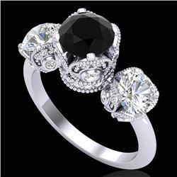 3 ctw Fancy Black Diamond Art Deco 3 Stone Ring 18k White Gold - REF-318Y2X