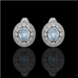 7.24 ctw Aquamarine & Diamond Victorian Earrings 14K White Gold - REF-221Y6X