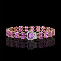 13.83 ctw Amethyst & Diamond Bracelet 14K Rose Gold - REF-236F4M