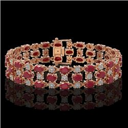 25.85 ctw Ruby & Diamond Bracelet 10K Rose Gold - REF-272G8W