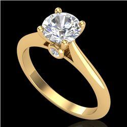 1.08 ctw VS/SI Diamond Solitaire Art Deco Ring 18k Yellow Gold - REF-244M2G