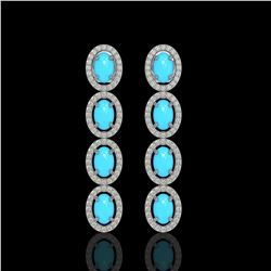 4.84 ctw Turquoise & Diamond Micro Pave Halo Earrings 10k White Gold - REF-110N9F