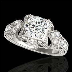 1.25 ctw Certified Diamond Solitaire Antique Ring 10k White Gold - REF-184K3Y