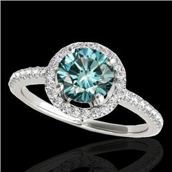 1.4 ctw SI Certified Fancy Blue Diamond Solitaire Halo Ring 10k White Gold - REF-129W5H