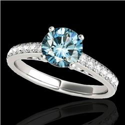 1.5 ctw SI Certified Fancy Blue Diamond Solitaire Ring 10k White Gold - REF-150K2Y