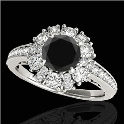 2.16 ctw Certified VS Black Diamond Solitaire Halo Ring 10k White Gold - REF-87X3A