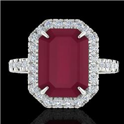 5.33 ctw Ruby & Micro Pave VS/SI Diamond Ring 18k White Gold - REF-94N4F