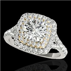 1.6 ctw Certified Diamond Solitaire Halo Ring 10k 2Tone Gold - REF-204X5A