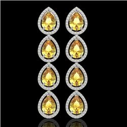 9.2 ctw Fancy Citrine & Diamond Micro Pave Halo Earrings 10k White Gold - REF-172F8M