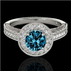 1.5 ctw SI Certified Fancy Blue Diamond Solitaire Halo Ring 10k White Gold - REF-150G2W