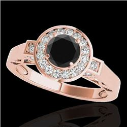 1.5 ctw Certified VS Black Diamond Solitaire Halo Ring 10k Rose Gold - REF-62N8F