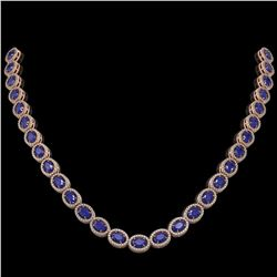 34.11 ctw Sapphire & Diamond Micro Pave Halo Necklace 10k Rose Gold - REF-672X8A