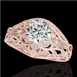 1.36 ctw Certified Diamond Solitaire Antique Ring 10k Rose Gold - REF-197F8M