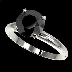 2.59 ctw Fancy Black Diamond Solitaire Engagment Ring 10k White Gold - REF-57A8N