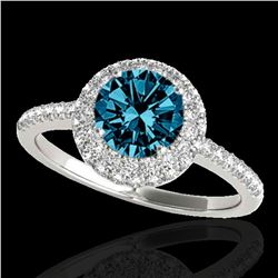 2.15 ctw SI Certified Fancy Blue Diamond Halo Ring 10k White Gold - REF-190F9M