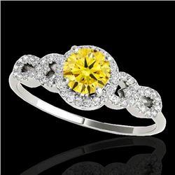 1.33 ctw Certified SI/I Fancy Intense Yellow Diamond Ring 10k White Gold - REF-190M9G