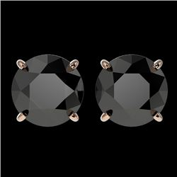 3.70 ctw Fancy Black Diamond Solitaire Stud Earrings 10k Rose Gold - REF-60N3F