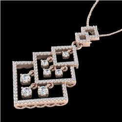1.50 ctw Micro Pave VS/SI Diamond Necklace Dangling 14k Rose Gold - REF-168G2W