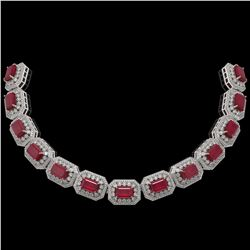 137.65 ctw Certified Ruby & Diamond Victorian Necklace 14K White Gold - REF-2875M6G