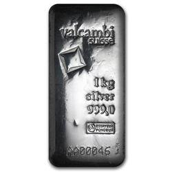 One piece 1 kilo 0.999 Fine Silver Bar Valcambi with Assay - 86730