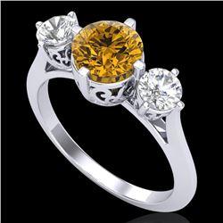 1.51 ctw Intense Fancy Yellow Diamond Art Deco Ring 18k White Gold - REF-236H4R