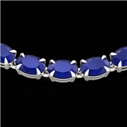 40 ctw Sapphire Eternity Tennis Necklace 14k White Gold - REF-218A2N